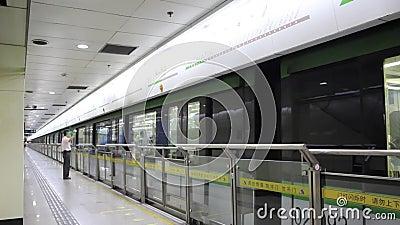 Longshanguan subway in Shanghai stock video footage