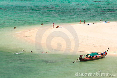 Longtail boat on beach coast ,Thailand