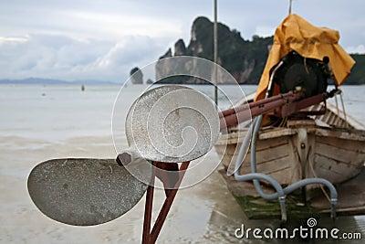 Longtail boat detail island beach