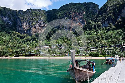 Longtail Boat Moored at pontoon in Thailand