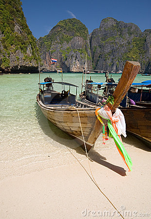 Longtail boats in the famous Maya bay