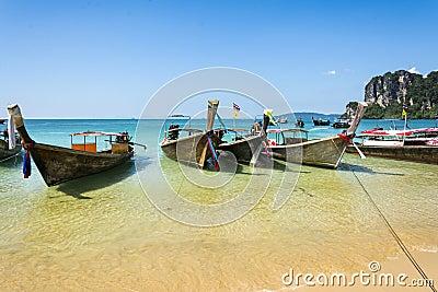 Longtail boats in Railay beach, Krabi peninsula in Thailand