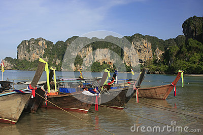 Longtail boats at Railay beach, Krabi, Thailand