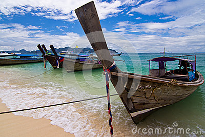 Longtail boats on a tropical island