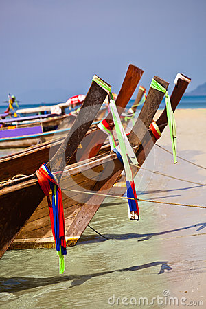 Tropical beach, longtail boats, Andaman Sea, Thailand