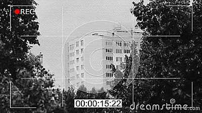 Longueur noire et blanche d'appareil-photo de télévision en circuit fermé, surveillance publique, documentaire de crime banque de vidéos