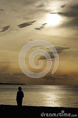 Lonley man at the beach