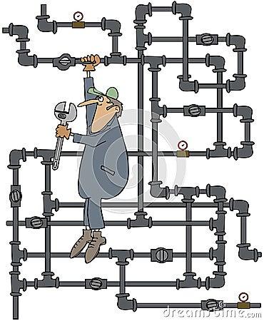 Loodgieter die een klep draaien