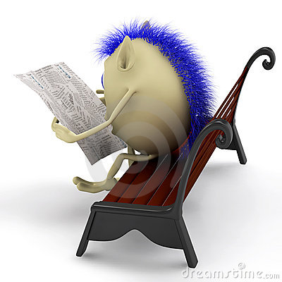 Free Look On Puppet Reading Newspaper On Bench Stock Image - 20362671
