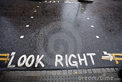 Look Right warning at pedestrian crossing