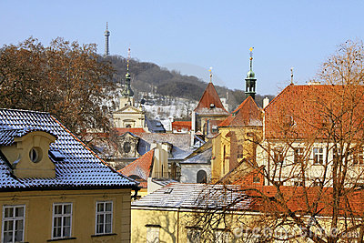 Look on the snowy Roofs of the old Town Prague