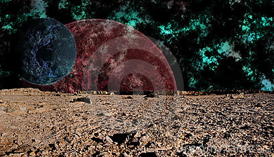 Look at space from the surface of the moon, futuri