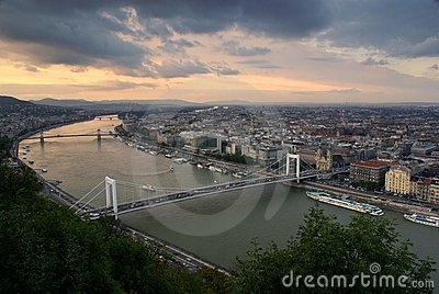 Looking along the Danube in budapest