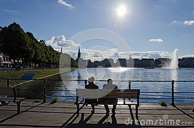 Looking at the Alster lake Editorial Photo