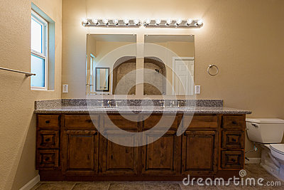 looking into bathroom mirrors stock photo image 48386678