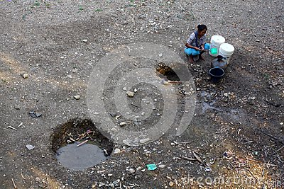 Looking for clean water Editorial Photography