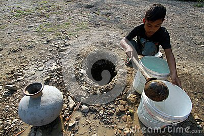 Looking for clean water Editorial Stock Image
