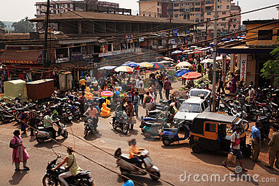 Looking down on a busy street India Editorial Stock Image