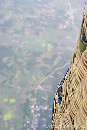 Looking down from a hot air balloon