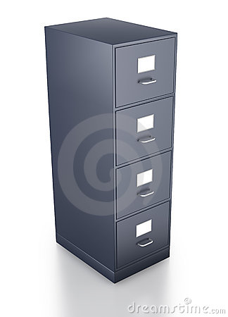 Looking Down On Single Grey Filing Cabinet Royalty Free Stock Image - Image: 19095946