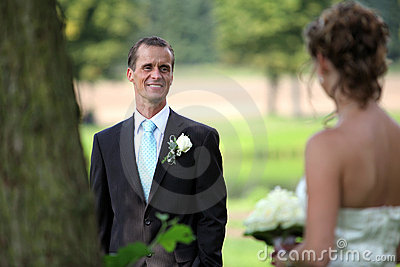 Looking at each other on wedding