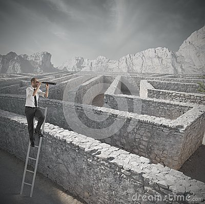 Free Looking For The Solution To The Maze Royalty Free Stock Photography - 28844857