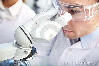Looking through microscope