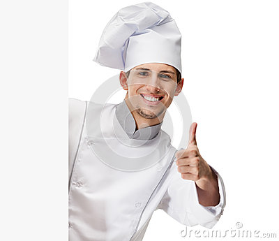 Looking out chef cook thumbs up