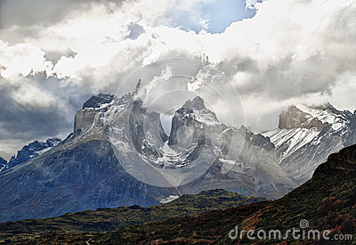 Looking over to the views of Torres Del Paine Mountains in Chilean Pataghonia