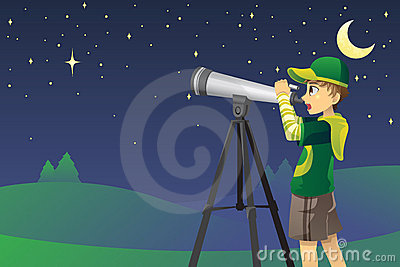 Looking at stars with telescope