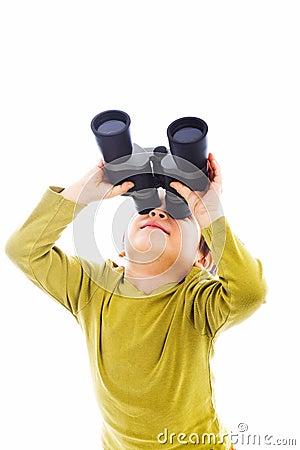 Looking up with binoculars