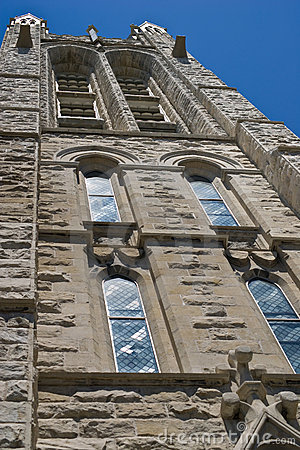Looking up at church steeple