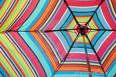 Looking Up Into a Colorful Umbrella Horizontal