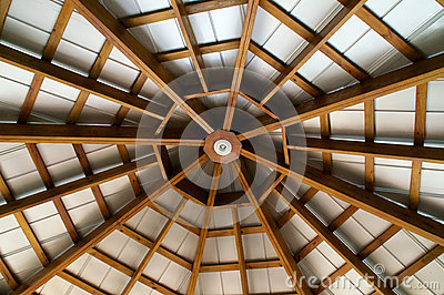 Looking up at  eight sided exposed beam roof