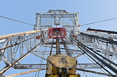 Looking up inside the derrick