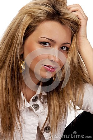 Looking women with blond hairs, isolated