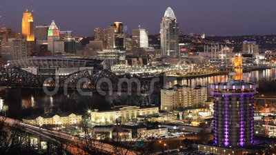 Looped day to night timelapse of Cincinnati, Ohio, United States 4K. A Looped day to night timelapse of Cincinnati, Ohio, United States 4K stock video footage