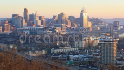 Looped day to night timelapse of Cincinnati, United States 4K. A Looped day to night timelapse of Cincinnati, United States 4K stock video footage