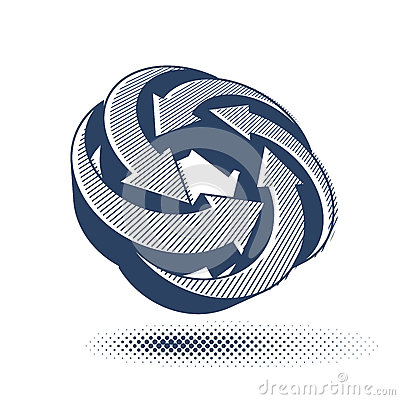 Looping arrows vector abstract symbol, conceptual special made 3