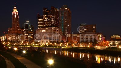 Looping day to night timelapse of Columbus, United States 4K arkivfilmer