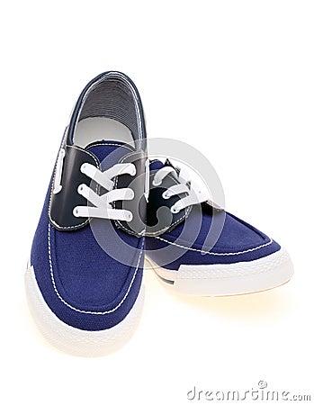 Lopende blauwe tennisschoenen