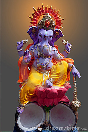 Free Lord Ganesh Sitting On Lotus Royalty Free Stock Images - 6521589
