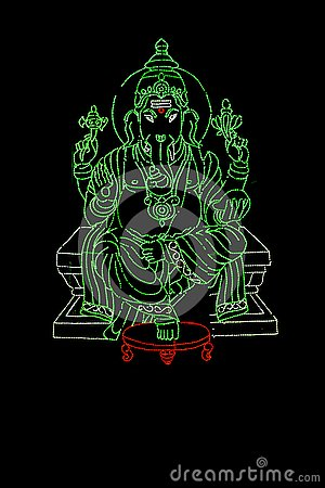 Free Lord Ganesha Displayed In Series Of Green LED Lights Stock Photos - 135519193