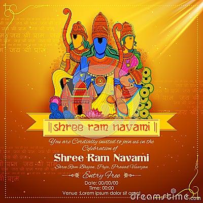 Lord Ram, Sita, Laxmana, Hanuman and Ravana in Ram Navami Vector Illustration