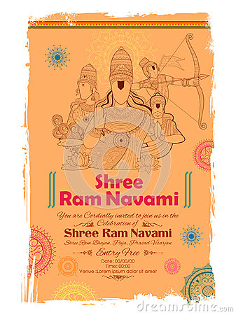 Lord Ram, Sita, Laxmana, Hanuman and Ravana in Ram Navami Vector Illustration