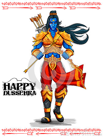 Lord Rama with arrow in Dussehra Navratri festival of India poster Vector Illustration