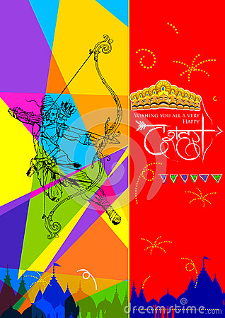 Lord Rama with bow arrow killing Ravan Vector Illustration