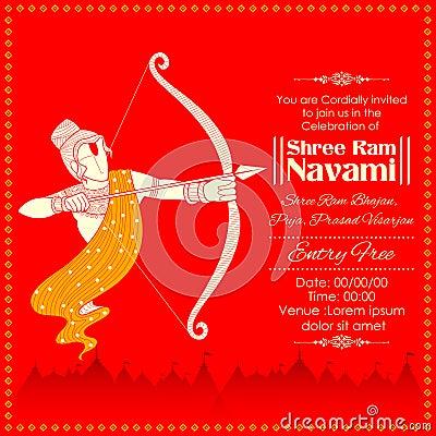 Lord Rama with bow arrow killing Ravana in Ram Navami Vector Illustration