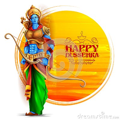 Free Lord Rama In Navratri Festival Of India Poster For Happy Dussehra Stock Photos - 124831773