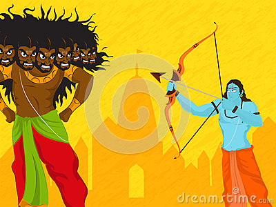 Lord Rama killing Ravana for Dussehra celebration. Cartoon Illustration
